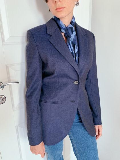 Синий шарф из шелка