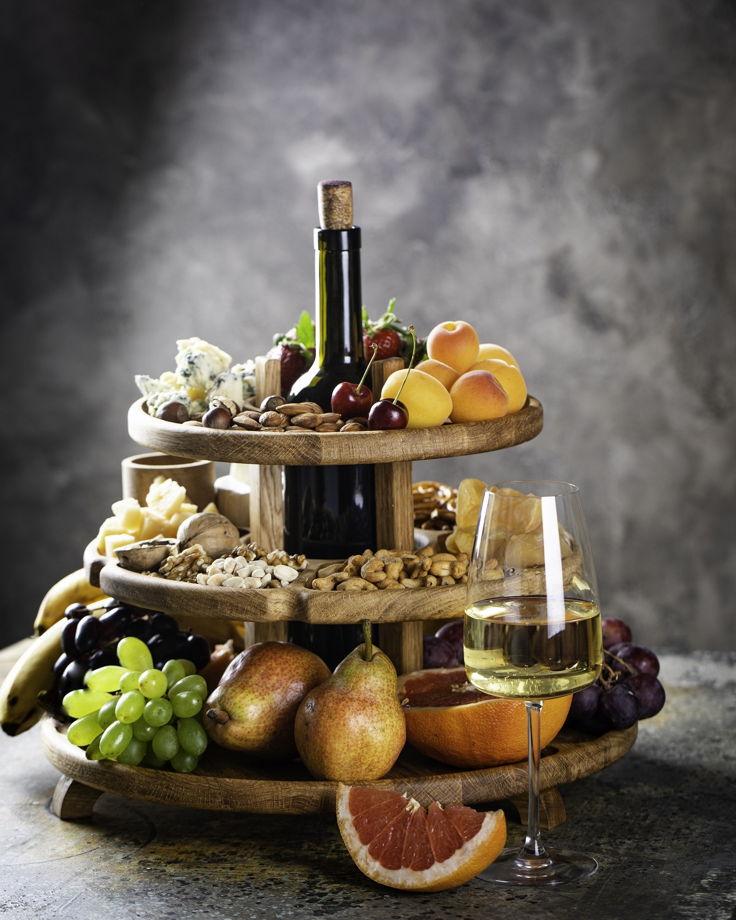 """Этажерка для сервировки закусками с местом для бутылки. Цвет """"натуральный дуб"""""""