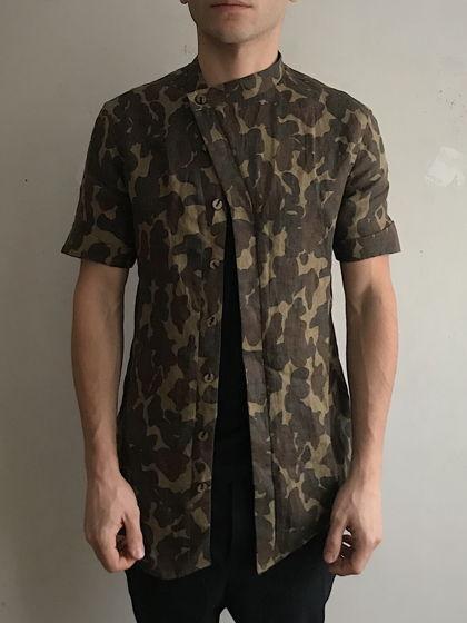 асимметричная рубашка в стиле милитари / военная из вощеного льна