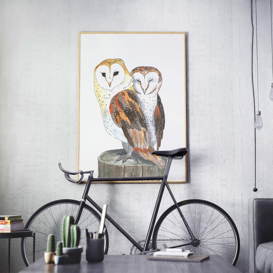 """Акварельная иллюстрация """"Влюблённые совы"""" (на заказ, любые птицы)"""