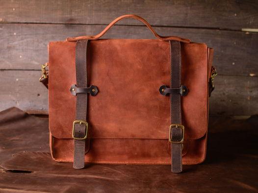 Мужская сумка через плечо -HARVARD- сумка-мессенджер из натуральной кожи цвет Коньяк