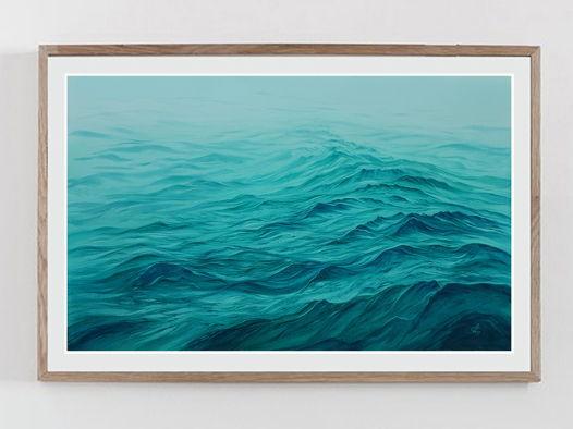 """Акварельная картина """"Предрассветный туман над океаном"""" (56 х 35,5 см)"""