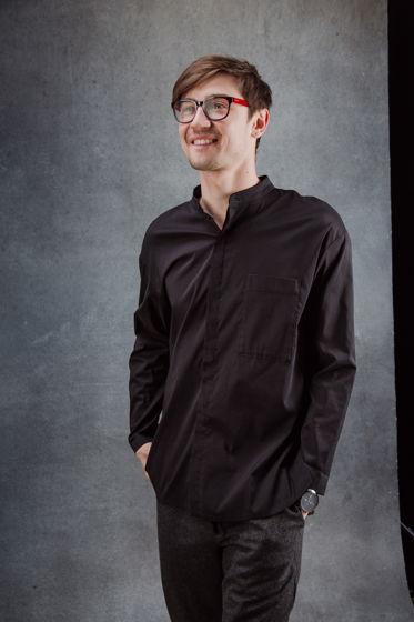 Рубашка чёрная из итальянской вискозы