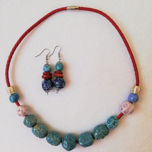 Бирюзовое. Ожерелье и серьги. Керамика.