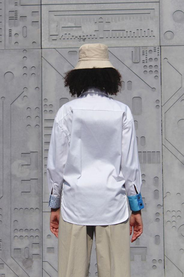 Рубашка с принтом удлиненная сзади