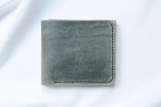 Серый кошелек из натуральной кожи ручной работы Wild Village