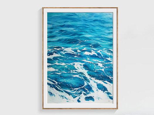 """Постер (56 х 76 см) с авторской акварельной картины """"Волны"""". Лимитированный номерной тираж"""