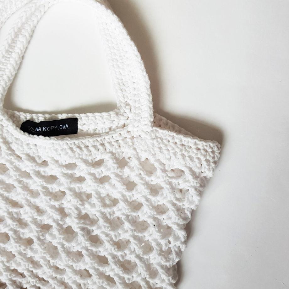 Белая хлопковая сумка сетка авоська на плечо