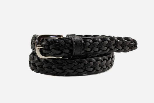 Кожаный плетеный ремень (черный)