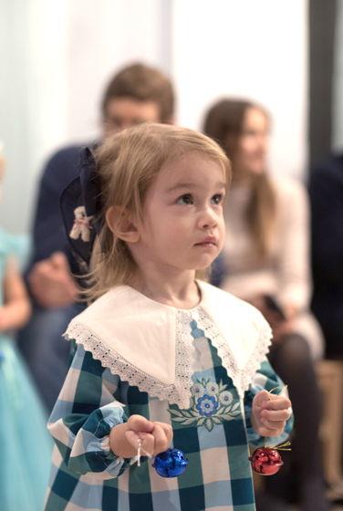 Платье с большим воротником и вышивкой LEILA PLAID