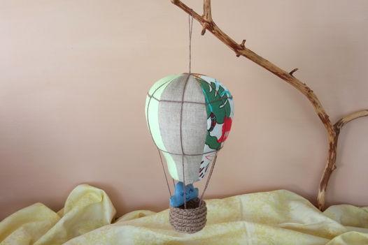 Подвесной воздушный шар изо льна ручной работы (зеленый/серый/принт)