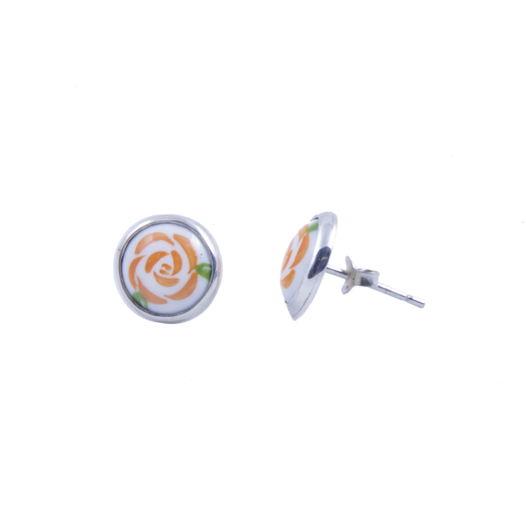Серебряные серьги-пусеты с эмалевыми миниатюрами, расписанные вручную