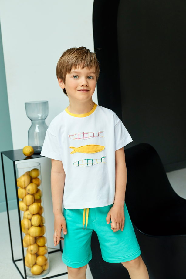 Трикотажная футболка белого цвета Fishes