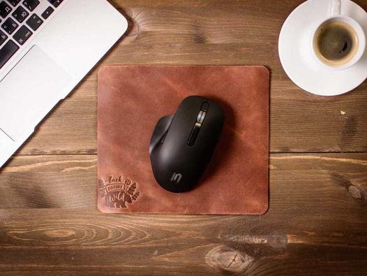 Кожаный коврик для мыши -SLIDE- цвет Коньяк