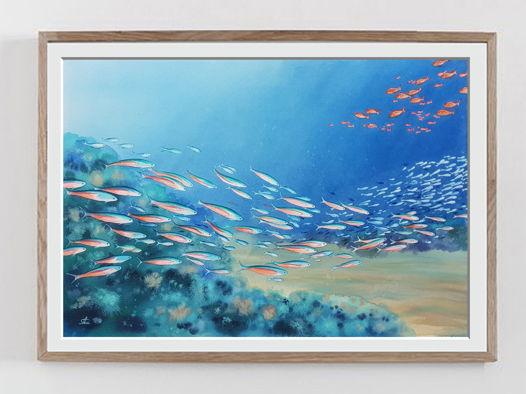 "Акварельная картина ""Жизнь океана"" (56 х 38 см)"
