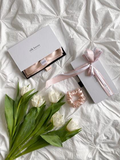 Подарочный набор полотенце для волос и резинка для волос STANDART из натурального шелка