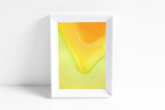 """Акварельный рисунок """"Лучи цвета: зелено-желтый свет №1"""""""