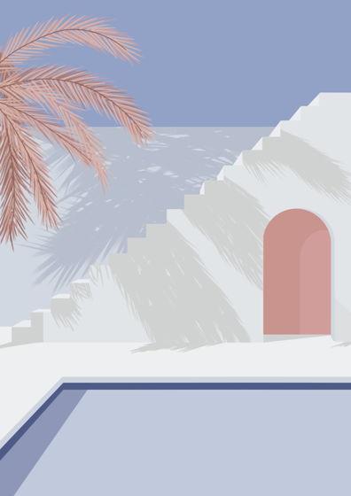 """Постер с авторской иллюстрацией """"Дворик"""" А3"""