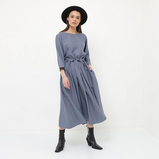Платье оверсайз с кулиской голубое