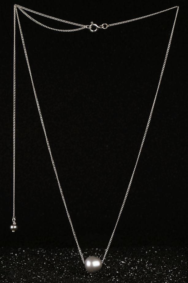 Серебряная подвеска с серой/розовой жемчужиной