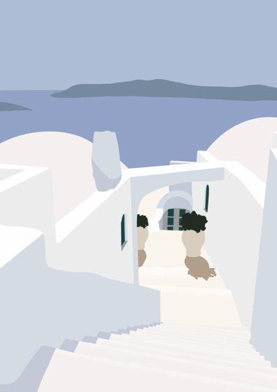 """Постер с авторской иллюстрацией """"Санторини #3"""" А3"""