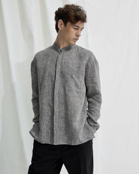 Льняная рубашка – серый меланж