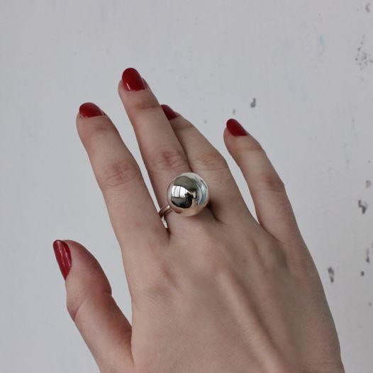 """Серебряное кольцо с крупным шаром """"Сфера"""""""