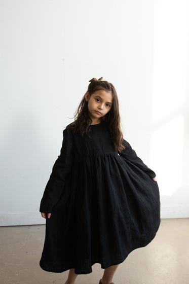 Льняное платье ЧЕРНОЕ 86-152