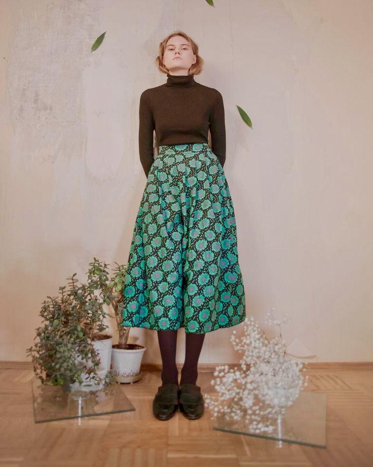 Свободные брюки-юбка из винтажного советского текстиля