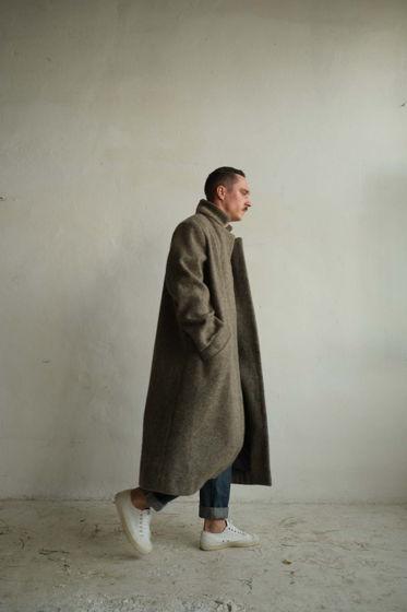 """зимнее длинное шерстяное пальто на подкладке """"серый орех"""" мужское"""