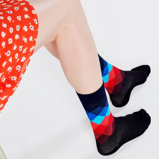 Носки с узором Happy Socks Faded Diamond - Black