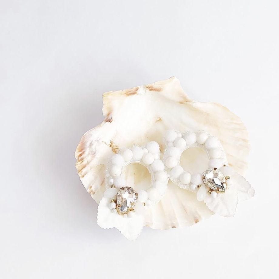 Серьги из натурального агата и кристаллов