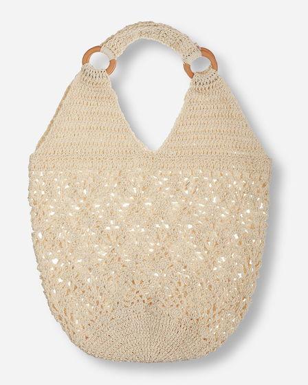 Молочная вязанная сумка летняя