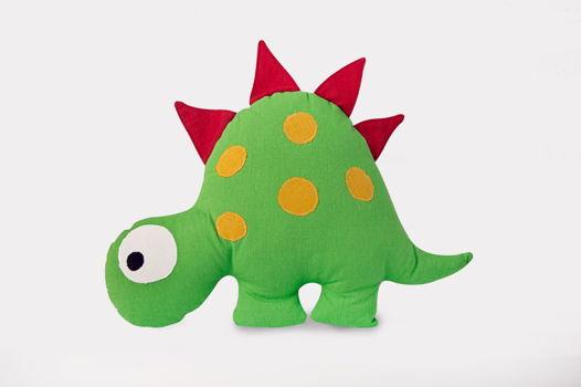 """Подушка игрушка """"Динозавр зеленый ручной работы изо льна"""""""
