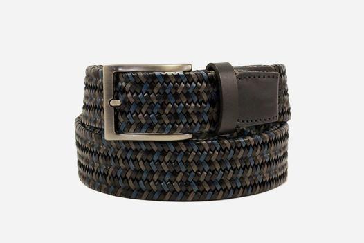 Черный мужской плетеный стрейч-ремень