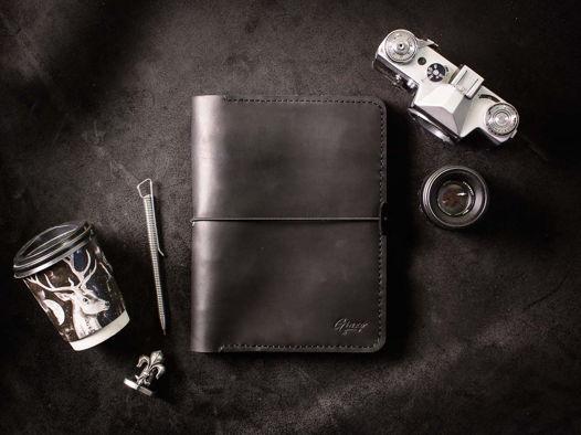 Кожаный блокнот на кольцах -LEGACY- А5 ручной работы цвет Черный Уголь