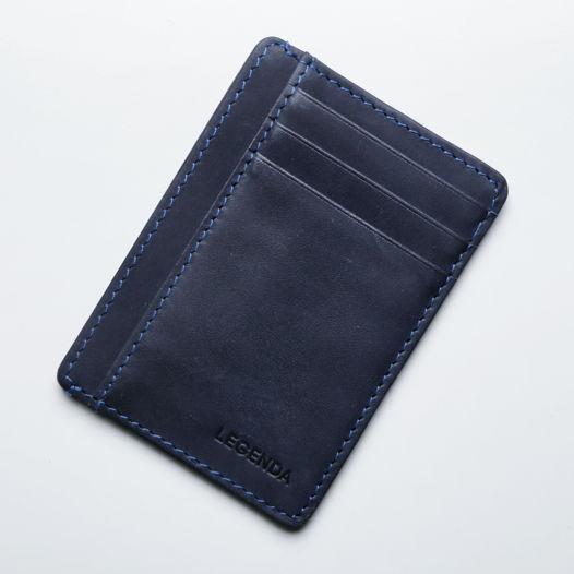 Кожаный кардхолдер-бумажник Antares тёмно-синий