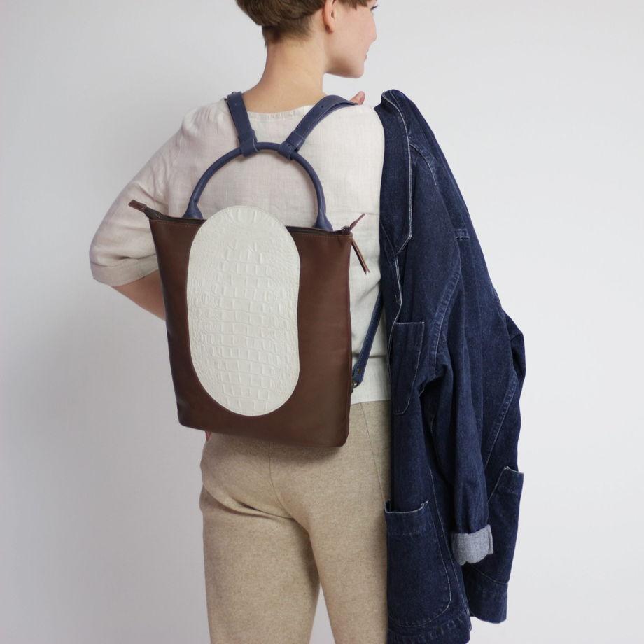 Кожаный рюкзак-сумка Arc Chocolate/White Croco