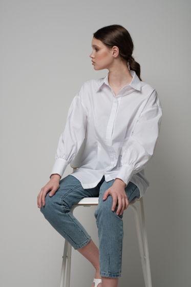 Хлопковая женская рубашка с объемным рукавом