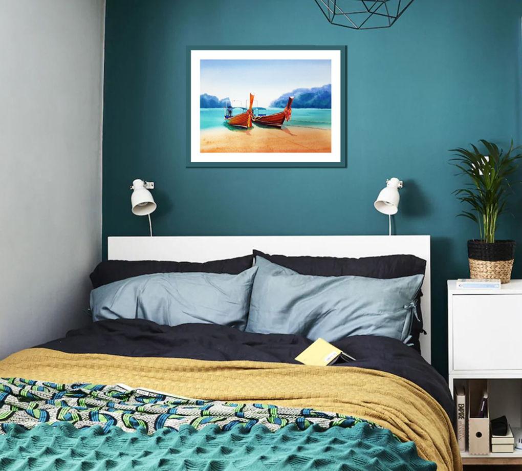 Акварельная картина Тайские лодки (38 х 28 см)