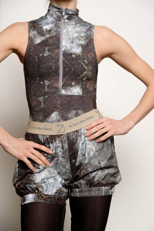 Разогревающие шорты-сауна, испачканные принтом для спорта / йоги / фитнеса