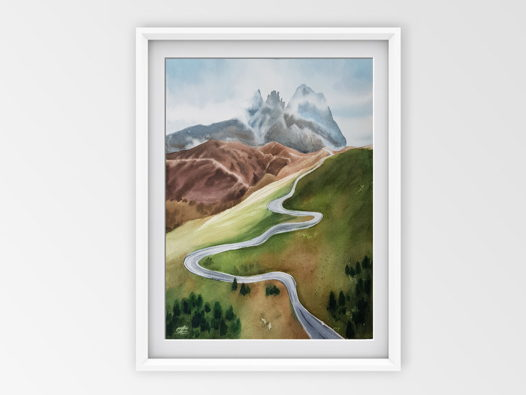 Акварельная картина Горная дорога (28 х 38 см)