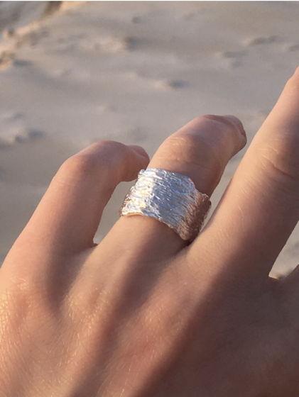 кольцо фактурное широкое Bark