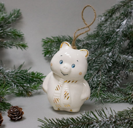 Керамическая ёлочная игрушка ручной работы - ПОРОСЁНОК золотой. Золотая коллекция TAVOLGA.