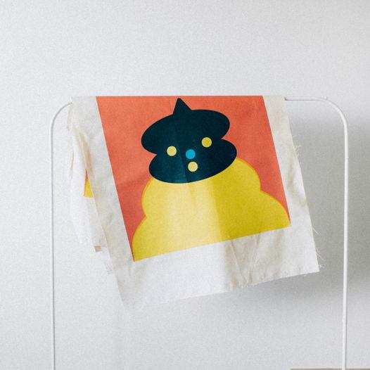 Плакат фигуры с головой из овалов и маленькой пимпочки