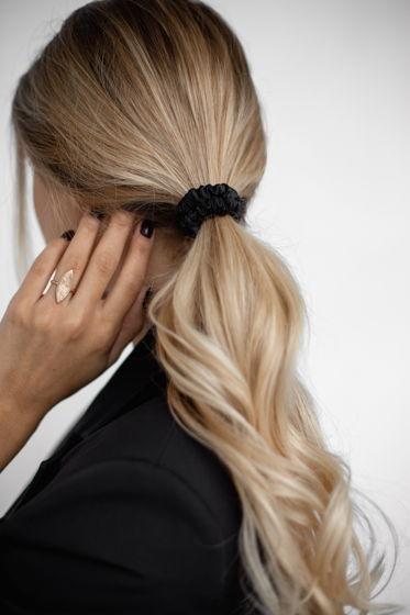 Резинка для волос MINI из натурального шелка черная
