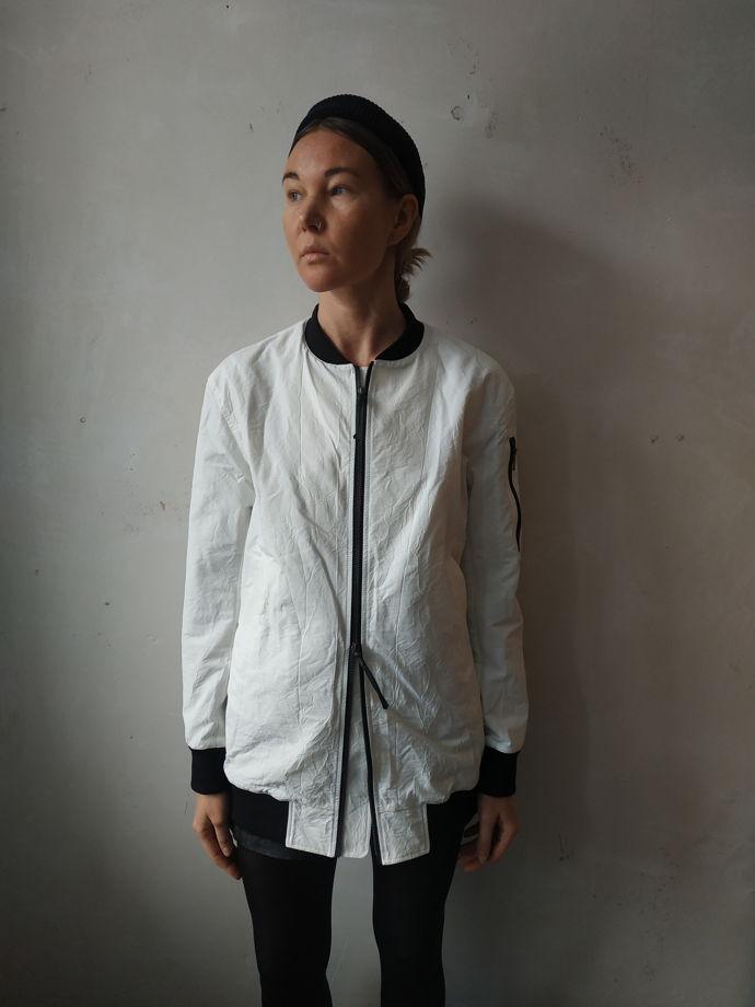 куртка бомбер unisex белый удлиненный