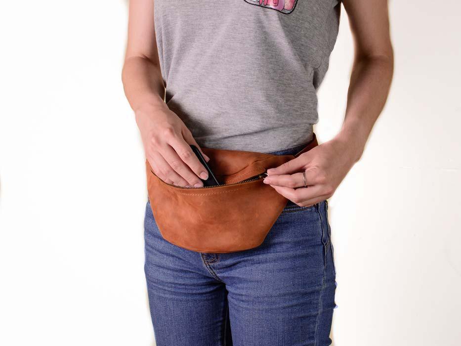 Поясная сумка из натуральной кожи -HILTON- цвет Коньяк