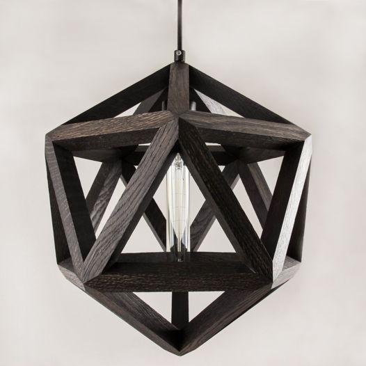 Светильник из тонированного дуба в форме икосаэдра