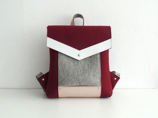 Винный рюкзак из фетра и натуральной кожи